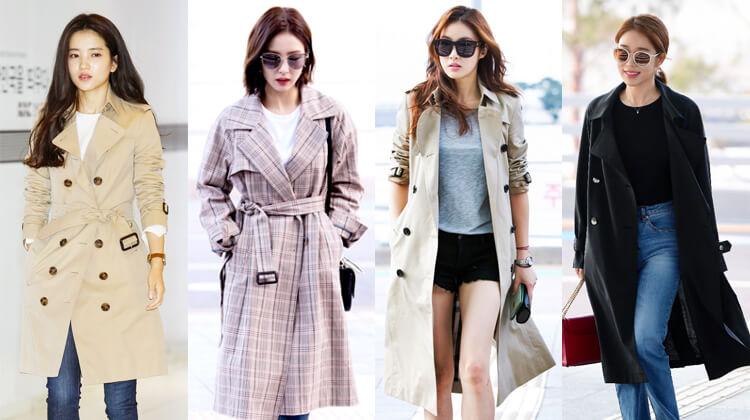 韓国秋ファッショントレンチコート