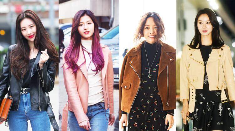 韓国秋ファッションライダースジャケット