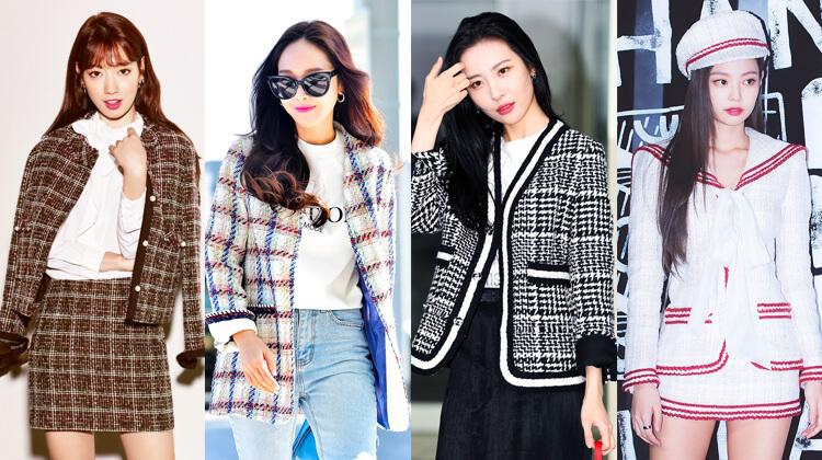 韓国秋ファッションツイードジャケット
