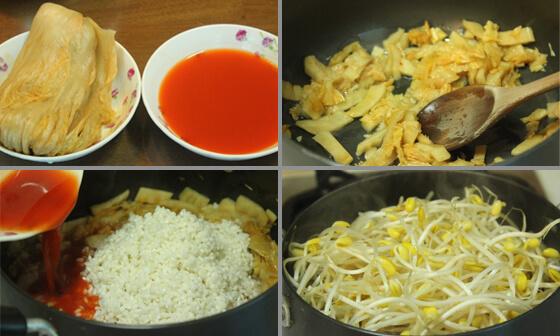 豆もやしキムチご飯レシピ